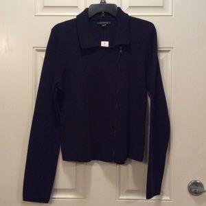 *NWT* Ann Taylor Navy Blue Wool Blend Moto Jacket